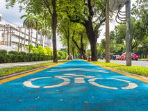 Bicycle lane in the city. Royalty Free Stock Photography