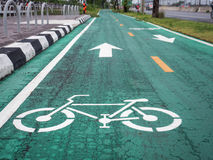 Bicycle lane in the city. Stock Photos