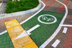 Bicycle lane in city of Khimki, Russia Royalty Free Stock Images