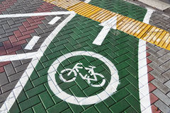 Bicycle lane in city of Khimki, Russia Royalty Free Stock Image