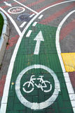 Bicycle lane in city of Khimki, Russia Royalty Free Stock Photos