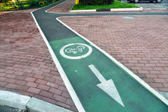 Bicycle lane in city of Khimki, Russia Royalty Free Stock Photography