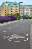 Bicycle lane city in Moscow. Bicycle symbol lane on asphalt. historical Buildings in the background. Moscow Russia Royalty Free Stock Photo