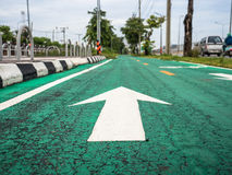 Bicycle lane in the city. Royalty Free Stock Photo