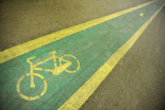 Bicycle lane. Detail with a bicycle lane in the park Stock Images