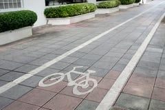 Bicycle lane on footpath. Royalty Free Stock Photo