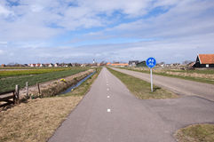 Bicycle lane on the island of Texel Royalty Free Stock Image