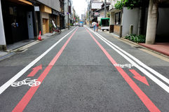 Bicycle lane in Kyoto area, Japan Royalty Free Stock Images