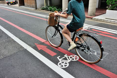 Bicycle lane in Kyoto area, Japan Stock Image