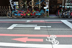 Bicycle lane in Kyoto area, Japan Stock Images
