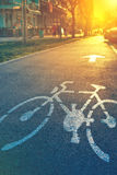 Bicycle lane mark on the street Stock Photo