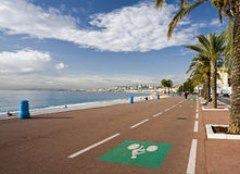 Bicycle lane in Nice. Bicycle lane on the coast in Nice, France Stock Image