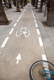 Bicycle Lane & Wheel Royalty Free Stock Photo