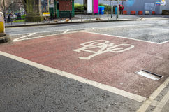 Bicycle Lane with Painted Sign on Asphalt Stock Images