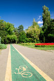 Bicycle lane in park. A one way bicycle lane in one of numerous Bucharest parks Stock Image