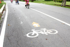 Bicycle lane. In the park Stock Photography