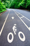 Bicycle Lane in the Park. Indicated by the sign Royalty Free Stock Photography
