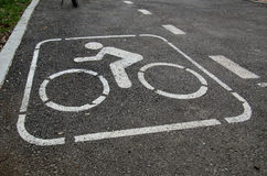 Bicycle lane at the park. Alley Royalty Free Stock Image