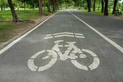 Bicycle lane  in park. Stock Photos