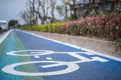 Bicycle lane in park. Close up of blue-green bicycle lane in public park Stock Images