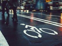 Bicycle Lane People walking Street Sign Traffic City stock image