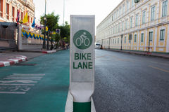 Bicycle lane beside road in the city. Bicycle lane beside the road in the city Stock Image
