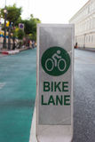 Bicycle lane beside road in the city. Bicycle lane beside the road in the city Royalty Free Stock Photography