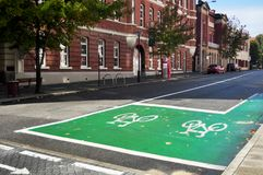 Bicycle lane on the road in Perth, Australia. Bicycle lane on the road with classic building at Hay street on May 21, 2016 in Perth, Australia stock images