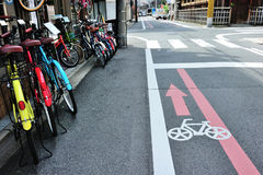 Bicycle lane on the road in Kyoto area, Japan Stock Photos