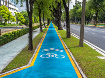 Bicycle lane in the city. Royalty Free Stock Image