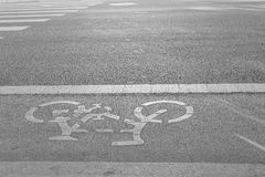 Bicycle lane beside of the road Royalty Free Stock Image