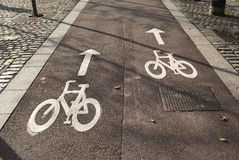 Bicycle lane road sign Royalty Free Stock Image
