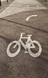 Bicycle lane road sign. With direction sign Stock Image