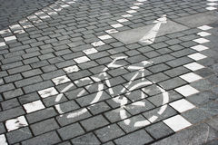 Bicycle lane road sign Royalty Free Stock Photos
