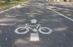 Bicycle lane road sign Stock Photo