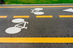 Bicycle lane road. Sign showing directions Royalty Free Stock Photos