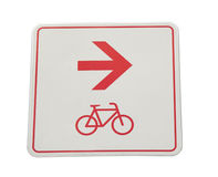 Bicycle lane sign. Bikers, rightwards Royalty Free Stock Images
