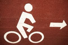 The bicycle lane. Sign of the bicycle lane Stock Photos