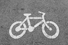 Bicycle lane sign on public road Royalty Free Stock Photos