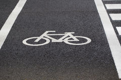 Bicycle lane sign. On road in Japan Stock Photography