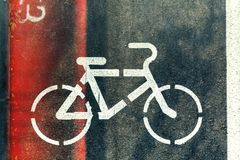 Bicycle Lanes Sign In Park, Top View With Copy-Space. Bicycle lane sign on the road, symbol for roadway part reserved for cyclist only stock image