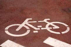 The bicycle lane. The sign of the start of the bicycle lane at the Cinta Costera of Panama stock photography