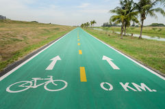 Bicycle lane with sign. Bicycle lane with white bicycle sign Stock Photography