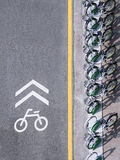 Bicycle Lane signage with bicycle parking on street Urban city. Top view stock photography