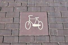 Bicycle lane signage on street Royalty Free Stock Images
