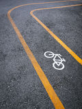 Bicycle lane signage on street Stock Photos