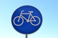 Bicycle lane street sign Stock Photography