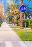 Bicycle lane at sunset with palms Royalty Free Stock Photo