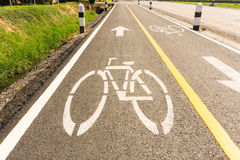 Bicycle lane with sunshine Stock Photo