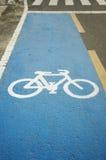 Bicycle lane symbol. On a paved highway Stock Photos